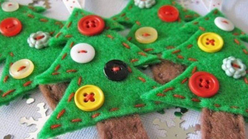 Haz preciosos árboles de Navidad con fieltro