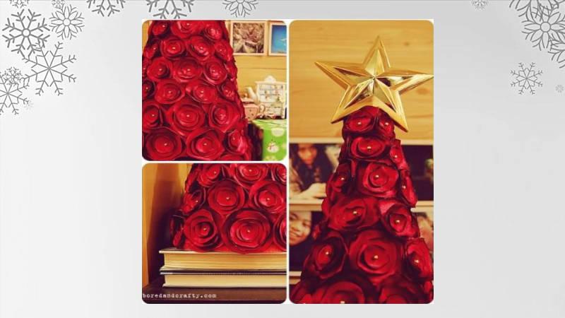 Árbol de Navidad con rosas de tela