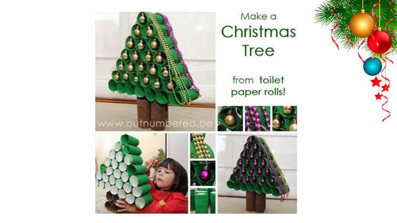 Arma un árbol de Navidad con rollos de papel higiénico