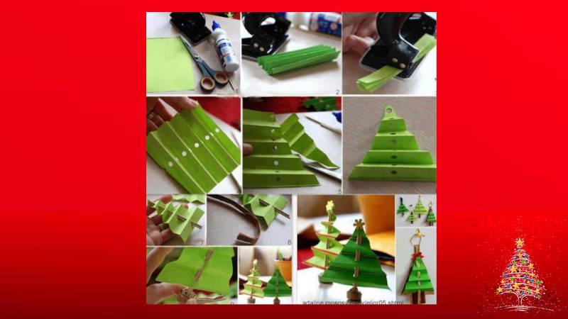 Haz para tus mesas arbolitos de Navidad de cartulina