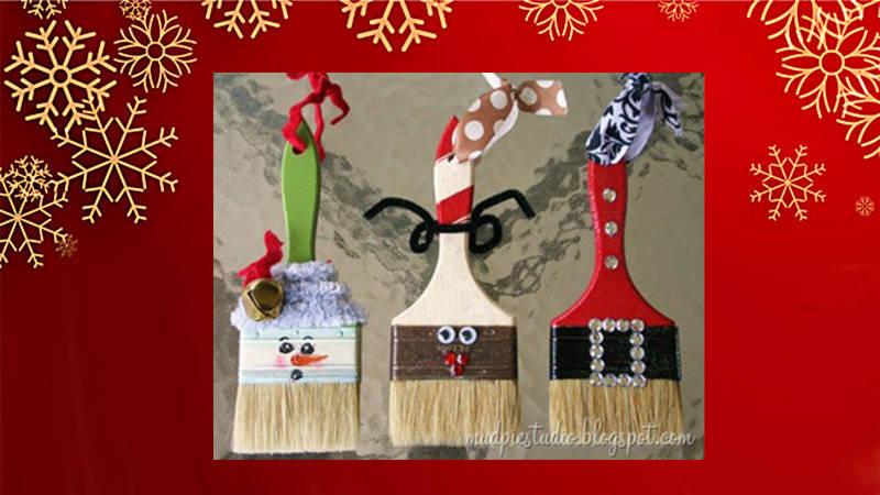 Crea adornos de Navidad con brochas