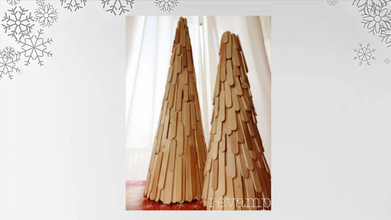 Haz un espectacular arbolito con paletas de madera