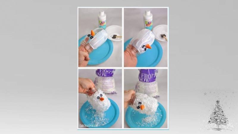 muñeco de nieve con frasco de vidrio