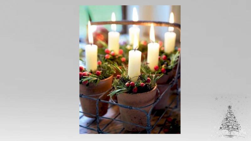 Decora con velas en Navidad con maceta